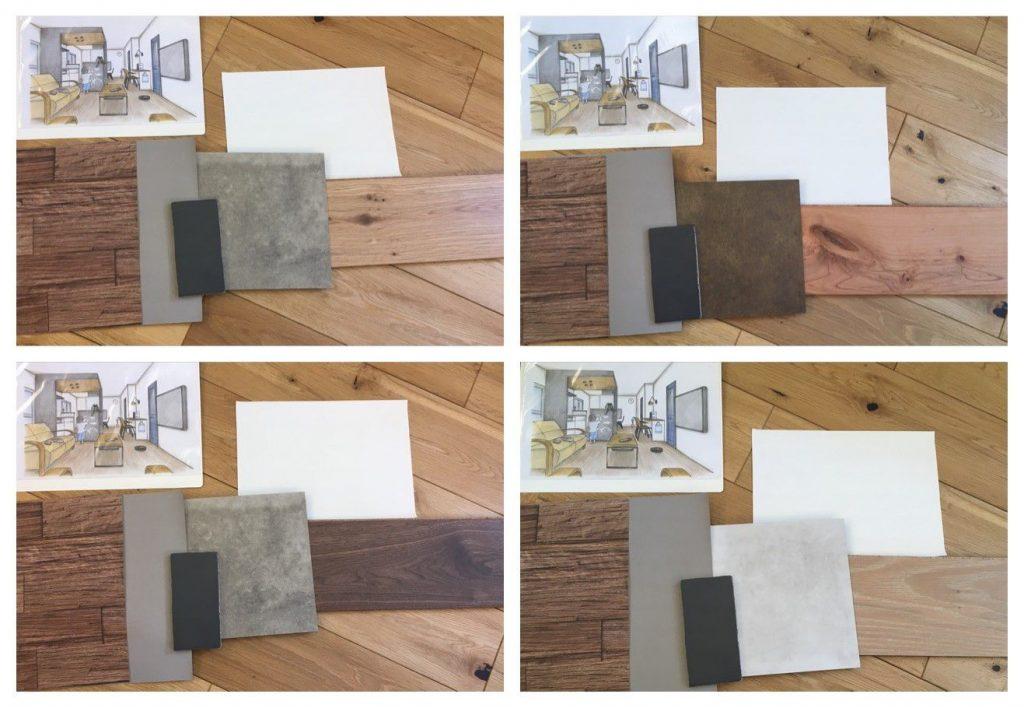 仕上げ材のサンプルを並べて何種類ものコーディネートが出来上がりました。