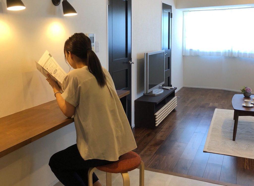 豊橋市のマンションリノベーションの事例撮影でモデル役をしました。