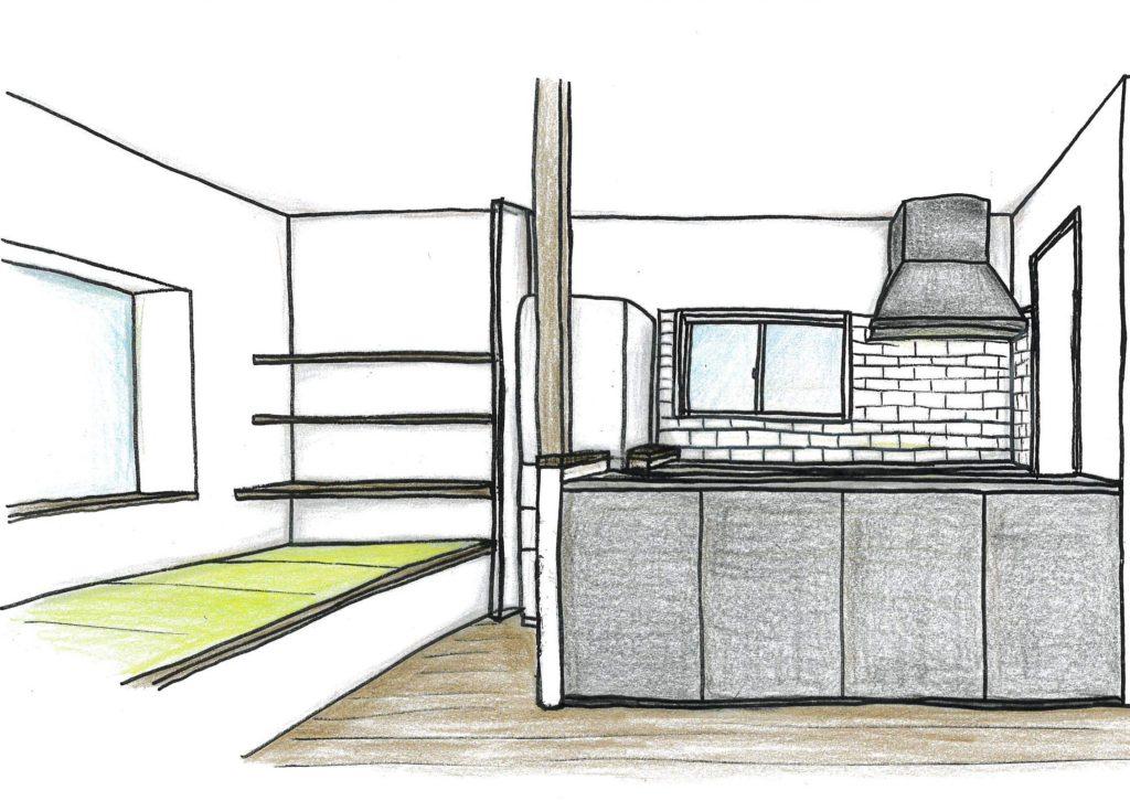 LDKのオリジナルキッチンと畳スペースがとっても素敵