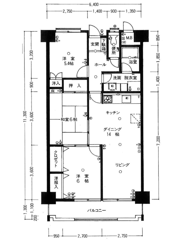 リノベ前のマンション平面図、一般的な間取りです