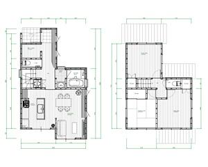 戸建てリノベのアフター図面、玄関位置を変え、階段も緩やかになりました。