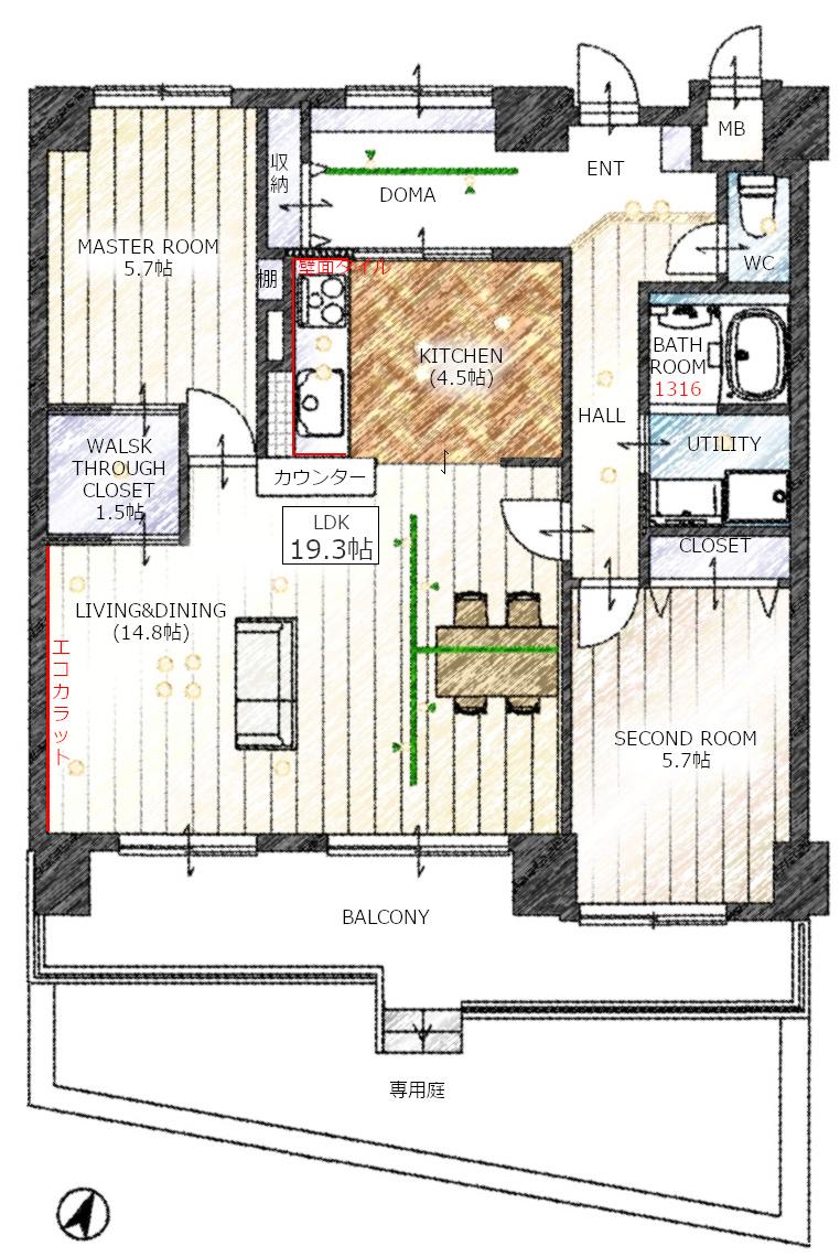リノベ済みマンションの平面図、広い土間とつながるキッチンが魅力的です