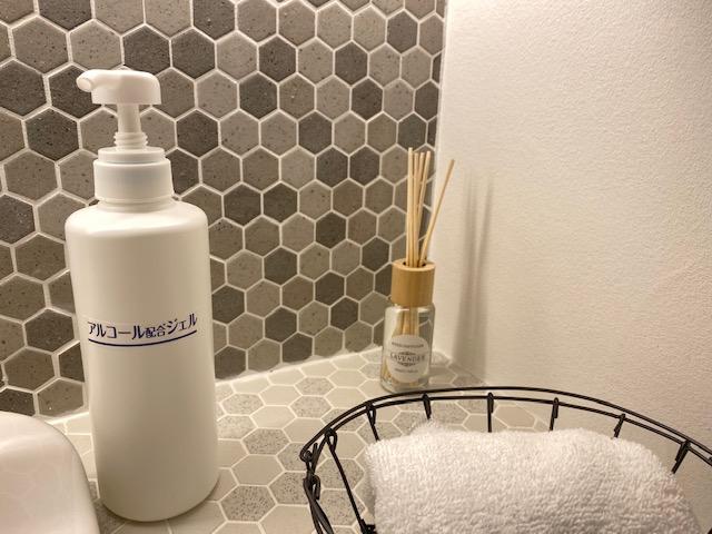 ショールーム洗面には消毒もあります、香りは定期的に変わります