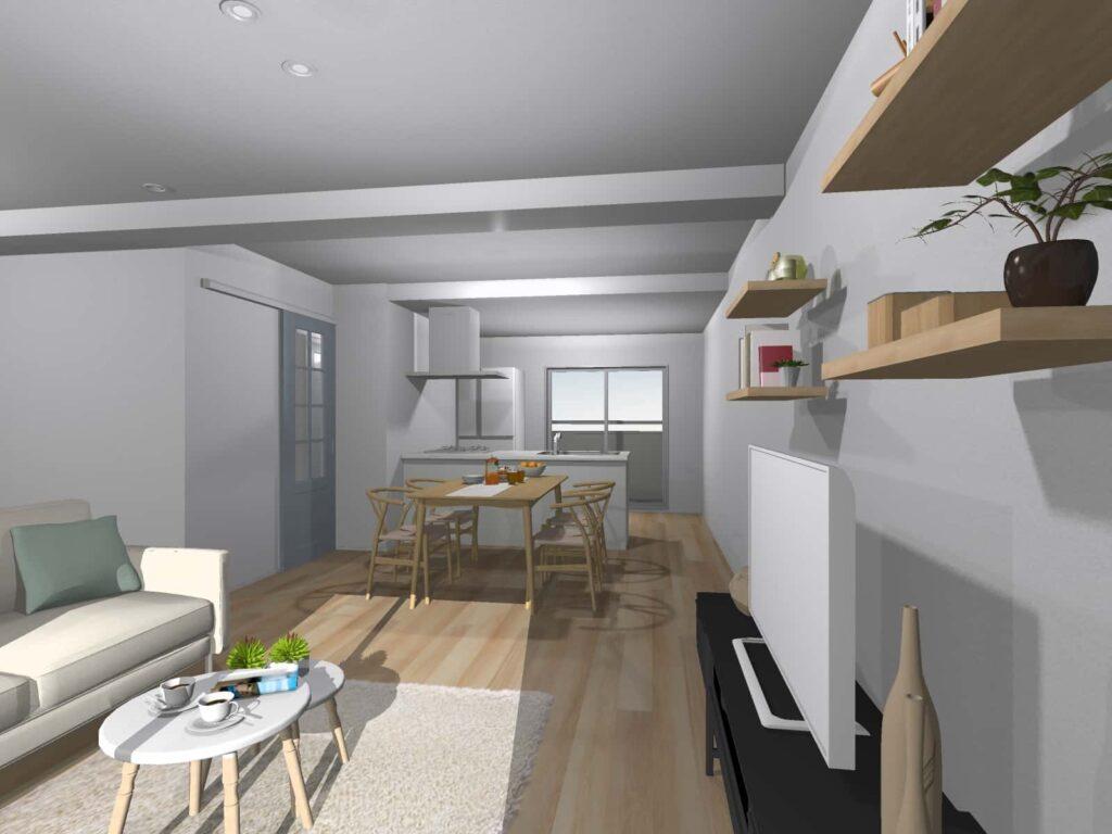 白を基調とした明るく室内にリノベーションする予定。出来上がりが楽しみです。