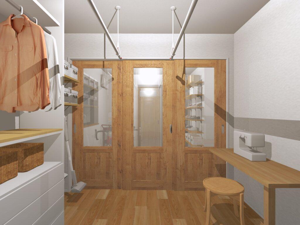 洗濯物や日用品を収めることができる実用的で嬉しい家事室