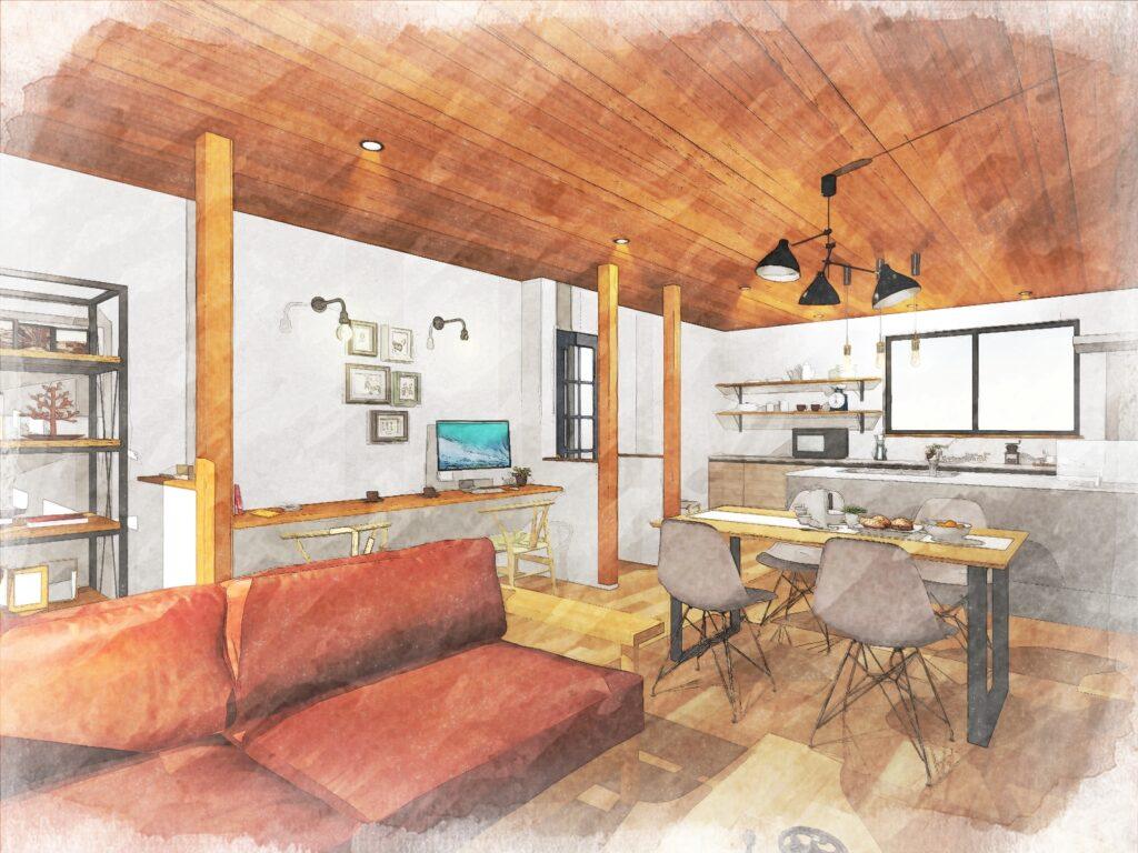 オークのフローリングとチークの天井が対照的で暖かな空間