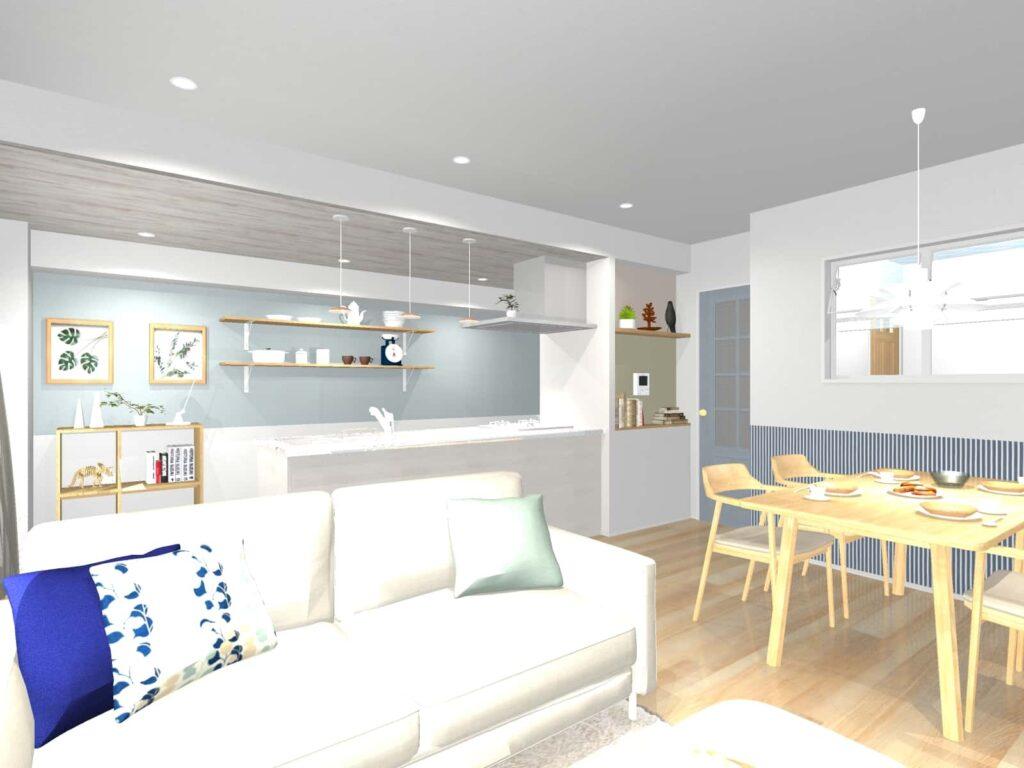 施主との打合せ用に作成した3Dパース。家具が入っている以外はイメージ通りの空間になりました。